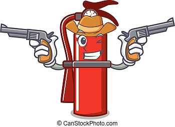 Cowboy fire extinguisher character cartoon