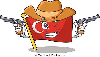 Cowboy flag turkey character on shaped cartoon