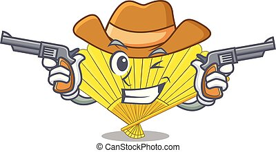 Cowboy folding cartoon fan in the bag