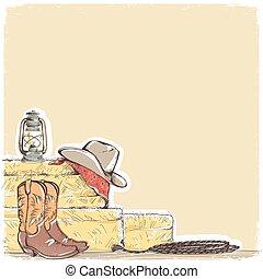 cowboy, fondo, con, occidentale, stivali, e, ovest, hat.