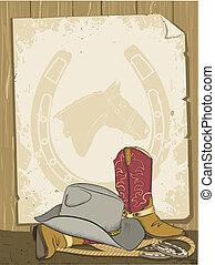 cowboy, fondo, con, stivali, e, hat.vector, vecchio, carta