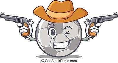 Cowboy football character cartoon style