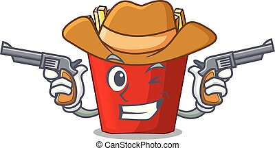 Cowboy french fries above cartoon table wood