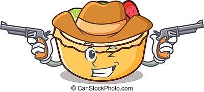 Cowboy fruit tart character cartoon