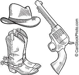 cowboy, gegenstände, skizze