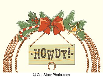 cowboy, ghirlanda, americano, occidentale, decorazioni, traditonal, natale, laccio
