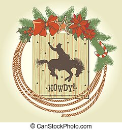 cowboy, ghirlanda, occidentale, decorazioni, natale, laccio