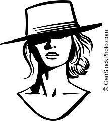 Cowboy girl face with hat. Black and white Vector.