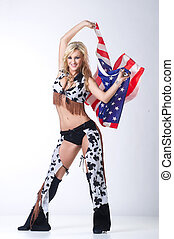 Cowboy girl with american flag.