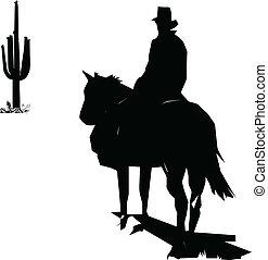 cowboy go to cactus vector silhouettes