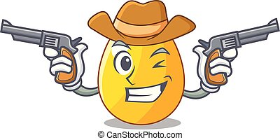 Cowboy golden egg cartoon for greeting card