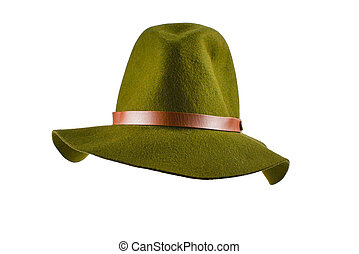 Cowboy green hat isolated on white background.