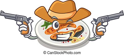 Cowboy grilled salmon isolated in the mascot