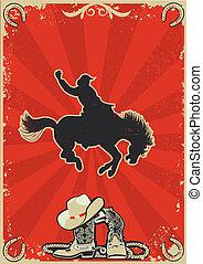 cowboy., grunge, tekst, wild, rodeo, achtergrond, paarde, race., vector, grafisch, poster