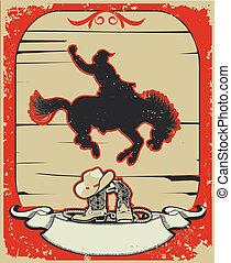 cowboy., grunge, testo, selvatico, rodeo, fondo, cavallo, race., vettore, grafico, manifesto