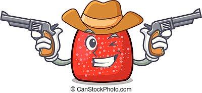 Cowboy gumdrop character cartoon style vector illustration