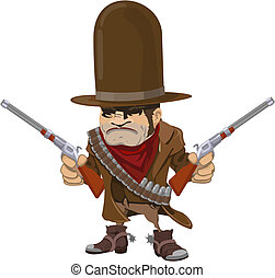 Cowboy gunman with rifles - Illustration of cool mean...