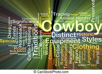cowboy, háttér, fogalom, izzó