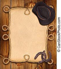 cowboy, háttér, noha, odaköt, keret, és, western, öltözék