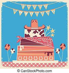 Cowboy happy birthday card for text