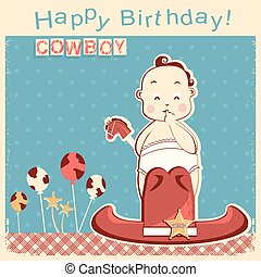Cowboy happy birthday card with little baby