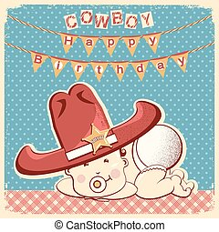Cowboy happy birthday card with little baby in big western sheriff hat