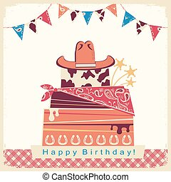 Cowboy happy birthday party card with cake and cowboy hat