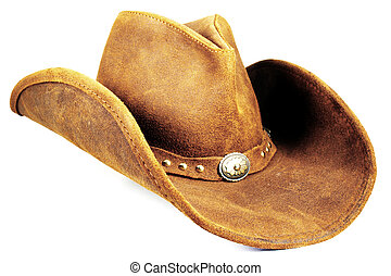 A brown cowboy hat against a white background