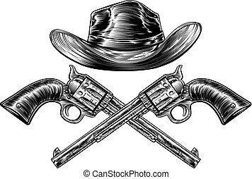 Cowboy Hat and Crossed Guns - A cowboy western hat and pair...