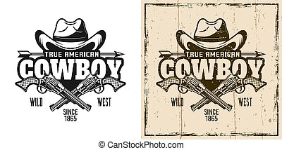 Cowboy hat and crossed pistols vector emblem