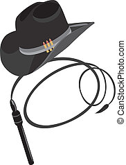 Cowboy hat and whip. Vector illustration