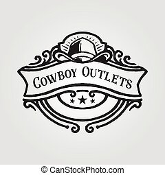 Cowboy Hat Badge Logo with banner