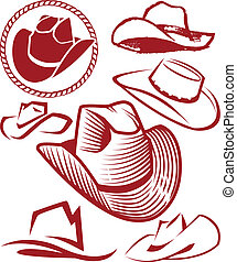 Clip art collection of various styles of cowboy hat
