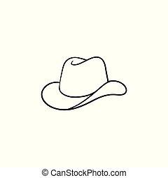 Cowboy hat hand drawn sketch icon.