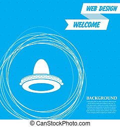 cowboy hat icon on a blue background with abstract circles around and place for your text. Vector