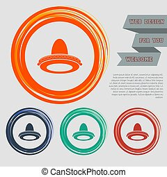 cowboy hat icon on the red, blue, green, orange buttons for your website and design with space text. Vector