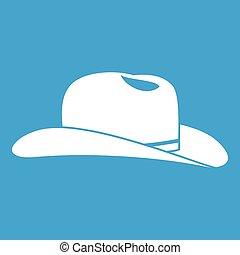 Cowboy hat icon white