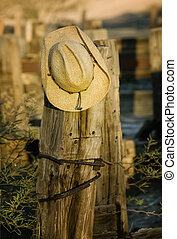 Straw cowboy hat hanging on an old wooden post.