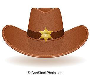 cowboy hat sheriff vector illustration isolated on white...