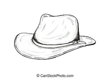 cowboy hat sketch for wild west icon sketch hand drawn illustration isolated with white background