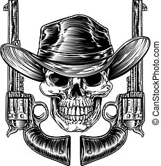 Cowboy Hat Skull and Pistols - Cowboy skull in a western hat...