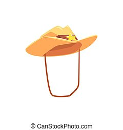 Cowboy Hat With Attaching String Drawing Isolated On White Background
