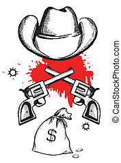 Cowboy hat with blood guns.Vector graphic western criminal poste