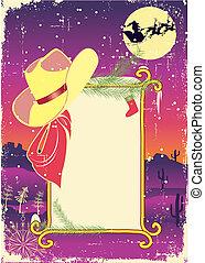 cowboy, hat.retro, cornice, text., fondo, tabellone, natale
