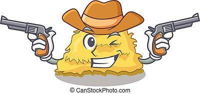 Cowboy hay bale character cartoon vector illustration