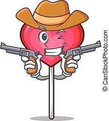 Cowboy heart lollipop character cartoon vector illustration
