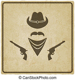 cowboy hoed, en, geweer, oud, achtergrond