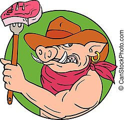 Drawing sketch style illustration of a cowboy hog, wild pig or wild boar holding a fork with barbecue steak set inside circle on isolated white background in color.