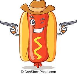 Cowboy Hot Dog Cartoon Character
