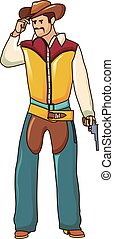Cowboy icon, cartoon style